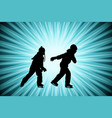 kids ice skating silhouettes on abstract vector image vector image