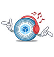 listening music webpack coin mascot cartoon vector image vector image