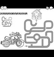 maze with bike for coloring vector image vector image