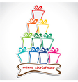 merry christmas gift stack vector image