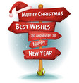 merry christmas wood road signs arrows vector image vector image