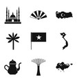 muslim icons set simple style vector image vector image