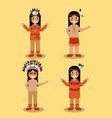 native american indian people with traditional vector image vector image