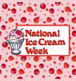 poster national week ice cream with popsicles and vector image vector image