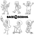 pupils children back to school cartoon color book vector image vector image
