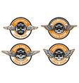 racer emblems set winged emblems with skulls vector image vector image