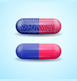 red and blue full medical pill capsule vector image vector image