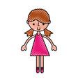 scribble pink girl cartoon vector image vector image