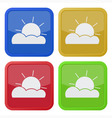 set of four square icons with partly cloudy vector image vector image
