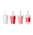 set paper cups for soda with straw isolated on vector image vector image