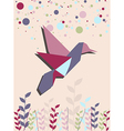 Single Origami hummingbird in pink vector image