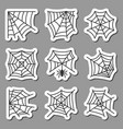 spider web icon sticker set black on white vector image