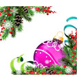 spruce branches and purple christmas ball vector image vector image