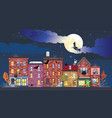 town at halloween night vector image vector image