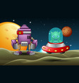 two robot cartoon landed in moon together vector image