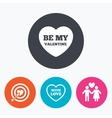 Valentine day love icons Target aim with heart vector image vector image