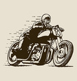 vintage cafe racer motorcycle racing vector image