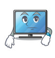 waiting lcd tv isolated with the character vector image