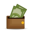 wallet save money dollar bills icon vector image