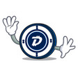 waving digibyte coin character cartoon vector image vector image