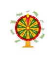 wheel of fortune and money dollar banknots vector image vector image