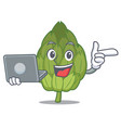 with laptop artichoke character cartoon style vector image