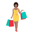 woman i with packages vector image vector image