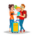young family traveling with a small child vector image vector image