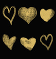 set of hand drawn hearts in golden style isolated vector image