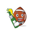 american football character cartoon with beer vector image vector image