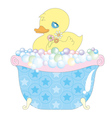 Baby duck in bathtub vector image vector image