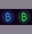 blue and green neon bitcoin sign vector image vector image