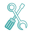 blue silhouette shading of set wrench and vector image vector image