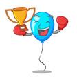 boxing winner blue balloon bunch design on cartoon vector image vector image