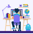 boy sitting at desk learning with computer vector image vector image