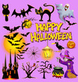 bright character set helluin with witch vector image