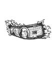 burning dollars sketch vector image vector image