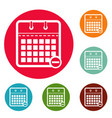 calendar page icons circle set vector image vector image