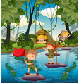 camping kids in the nature vector image vector image