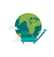 cartoon flat globe character in a cart vector image vector image