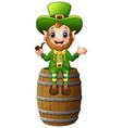 cartoon leprechaun sitting on barrel and holding a vector image