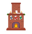 christmas fireplace on a white background candles vector image