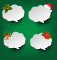 christmas speech bubble set green background vector image