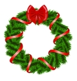 Christmas wreath with red ribbon vector image vector image