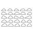 cloud black shapes weather thin line web icon set vector image vector image