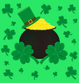 coins hat and clover symbol st patrick s vector image