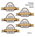 collection vintage retro grunge sale labels vector image vector image