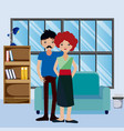 couple inside house vector image