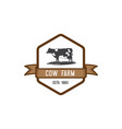 cow farm emblem logo vector image