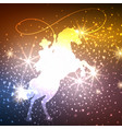 cowboy on horse with lights background vector image vector image